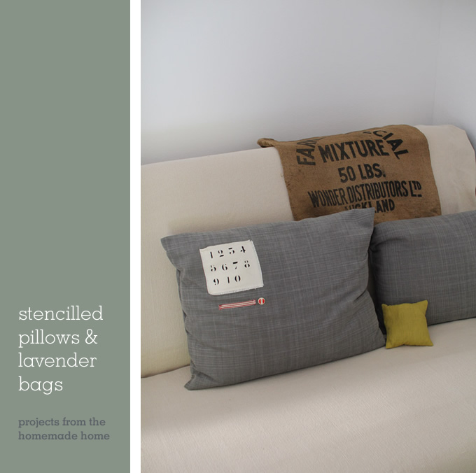 stencilled pillows