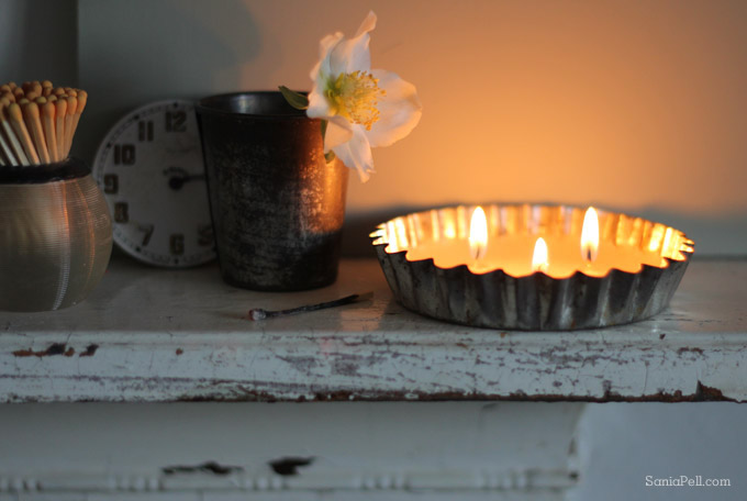 homemade vintage tart tin candle by Sania Pell