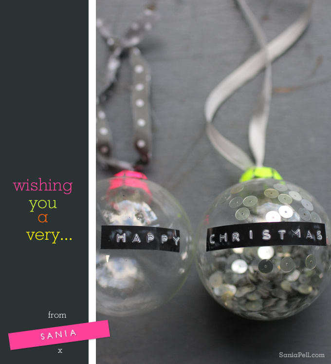 Homemade Happy Christmas baubles by Sania Pell