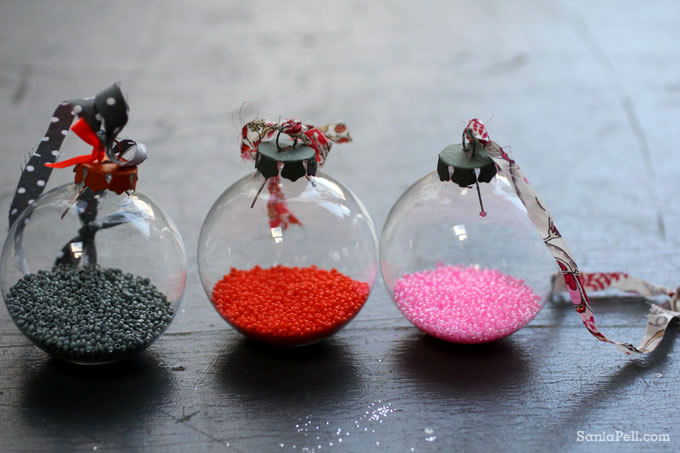 Homemade Christmas baubles by Sania Pell