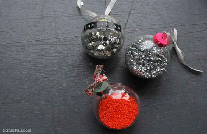 Neon disco pop glitter baubles by Sania Pell