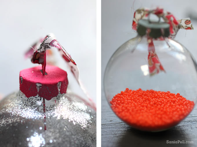 Glitter and bead Christmas baubles by Sania Pell