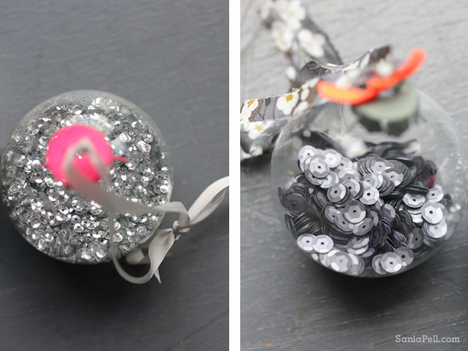 Homemade neon sparkle baubles by Sania Pell