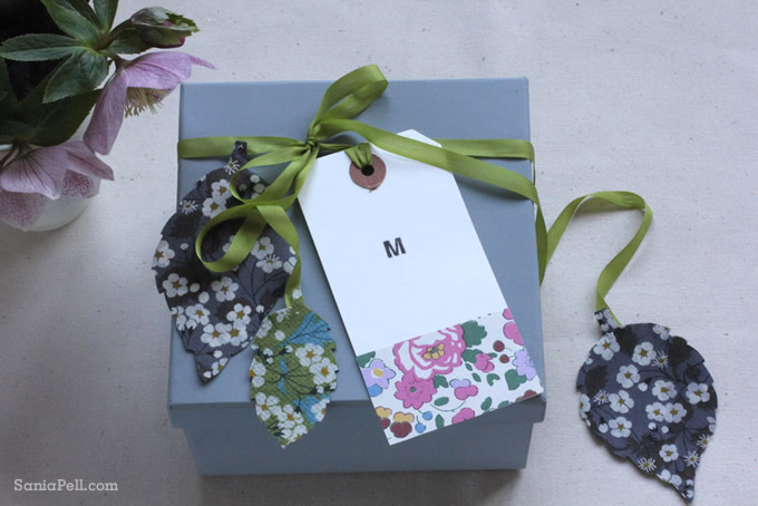 Homemade Liberty print gift box and tags by Sania Pell