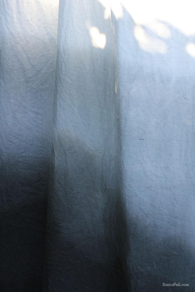 Indigo ombré dyed linen by Sania Pell