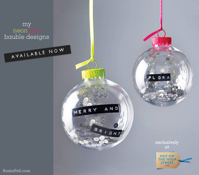 Neon pop baubles available at Notonthehighstreet.com, design by Sania Pell