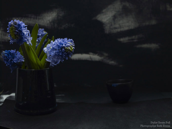 Black and Blue floral - Stylist Sania Pell, photographer Beth Evans