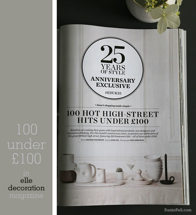 100 Hit High Street Hits for Under £100 by Sania Pell for Elle Decoration magazine