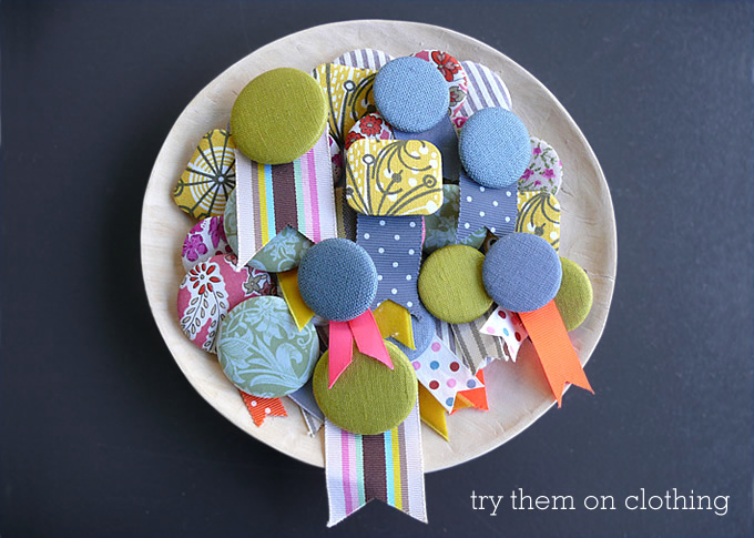 fabric button brooches