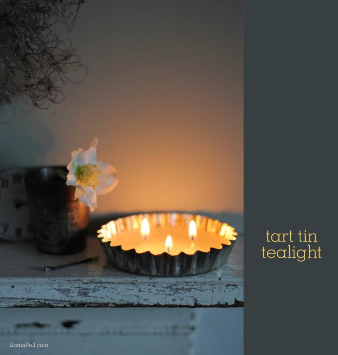 vintage tart tin candle