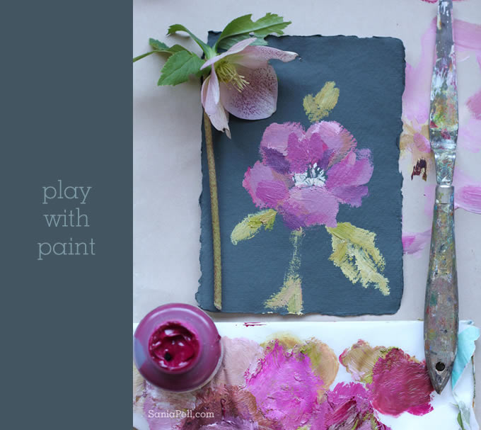 painted hellebore by Sania Pell