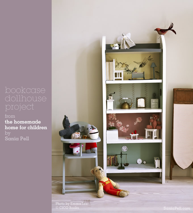 Bookcase dollhouse project from The Homemade Home for Children by Sania Pell
