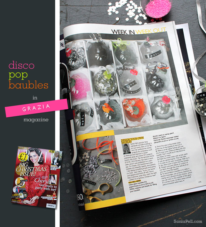 Disco pop baubles by Sania Pell in Grazia magazine