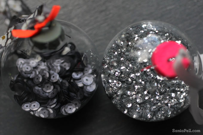 Neon sequin and bead Christmas baubles by Sania Pell