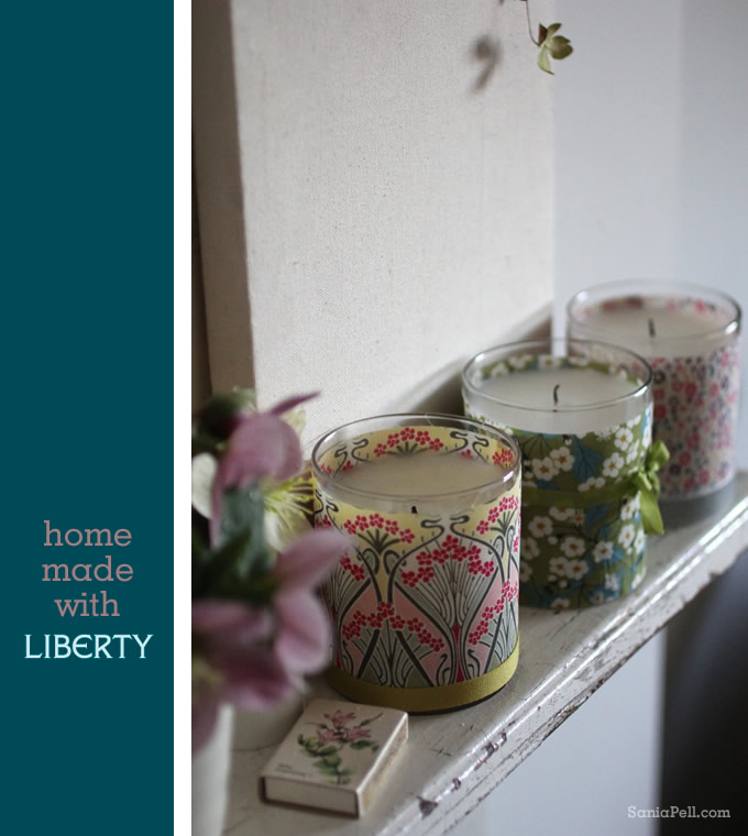 Homemade Liberty print candle by Sania Pell