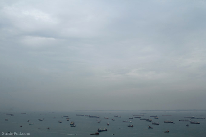 Ships anchored in Singapore Bay by Sania Pell