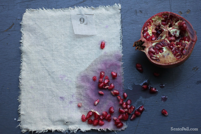 Homemade pomegranate dye by Sania Pell