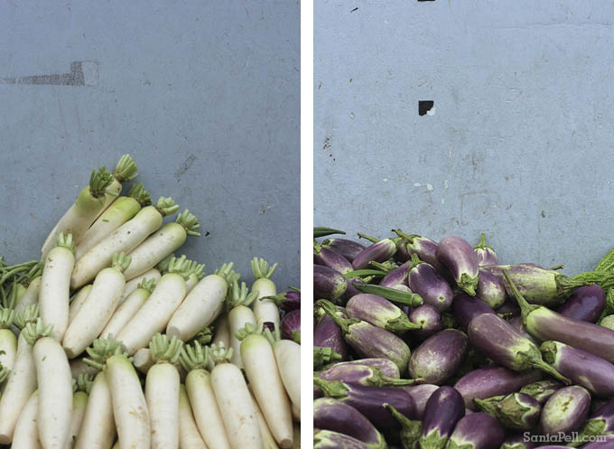 Vegetables on a market stall in Little India, Singapore by Sania Pell