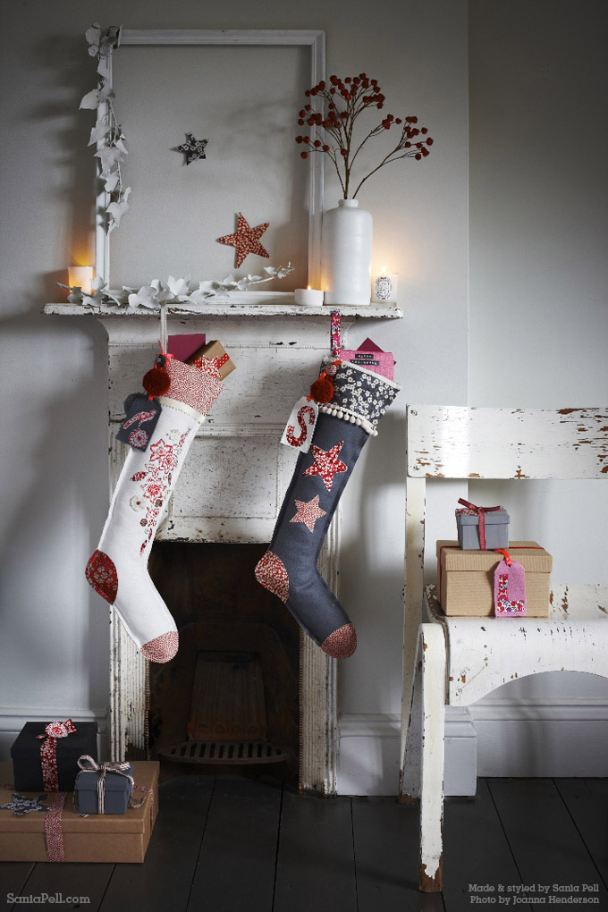 Homemade Christmas stockings by Sania Pell ©2013 Photo by Jo Henderson