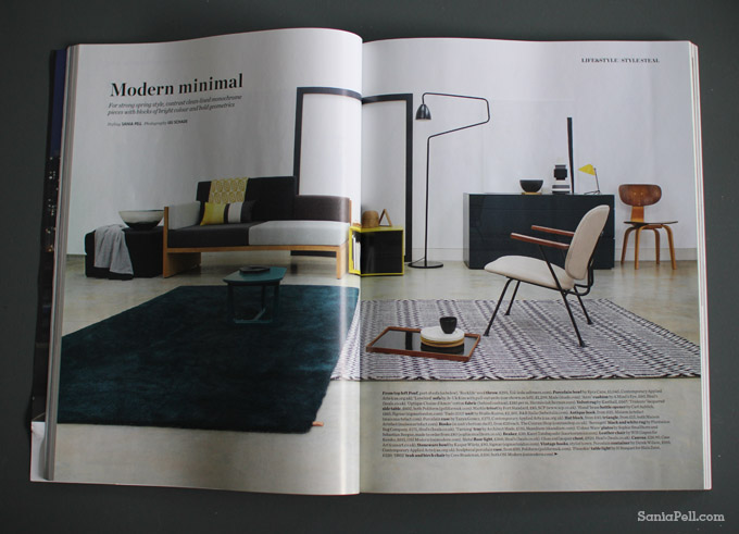Modern Minimal - Sania Pell's styling story in Elle Decoration magazine UK