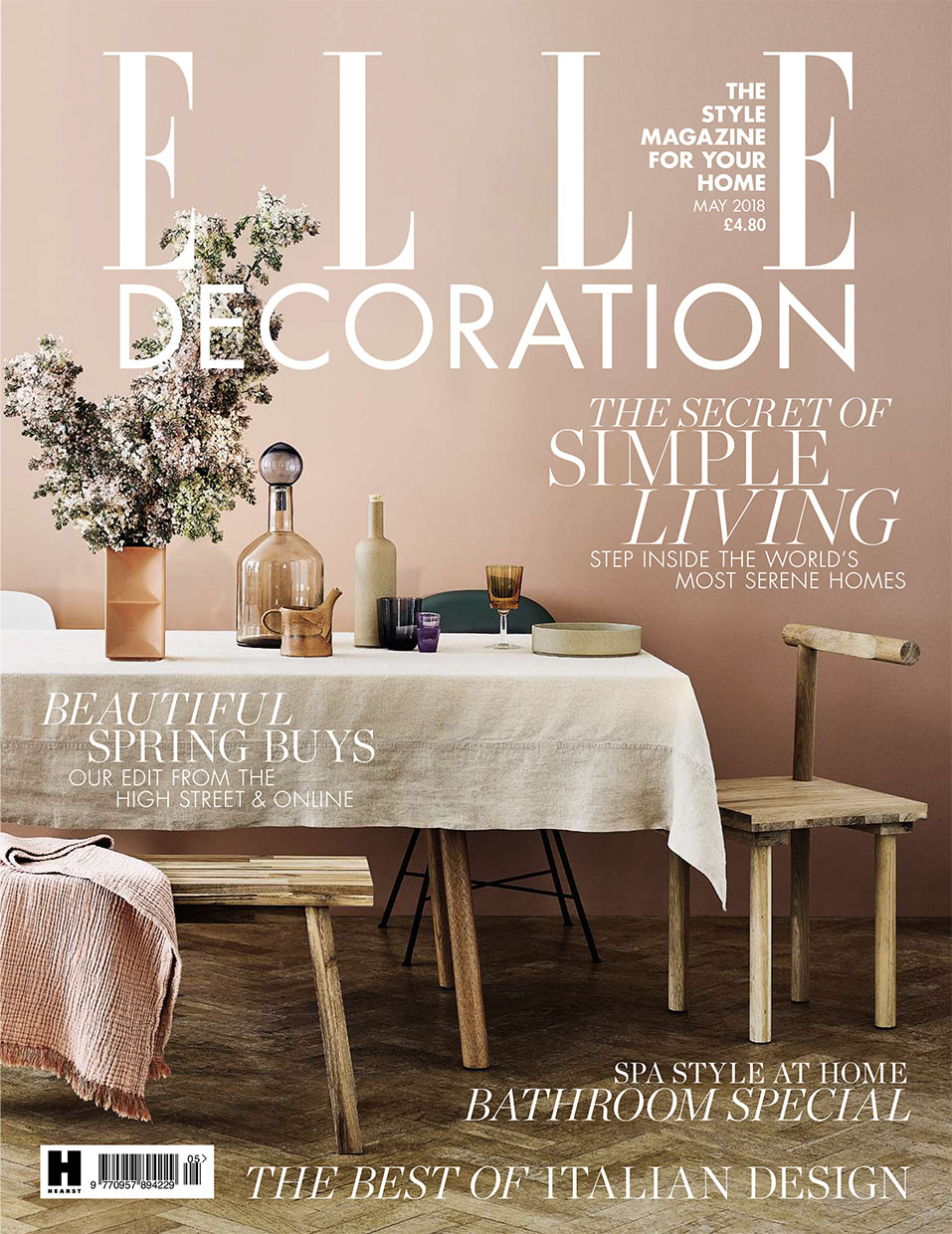 Elle Decoration May 2018 front cover styled by interior stylist Sania Pell. Photography by Jake Curtis.