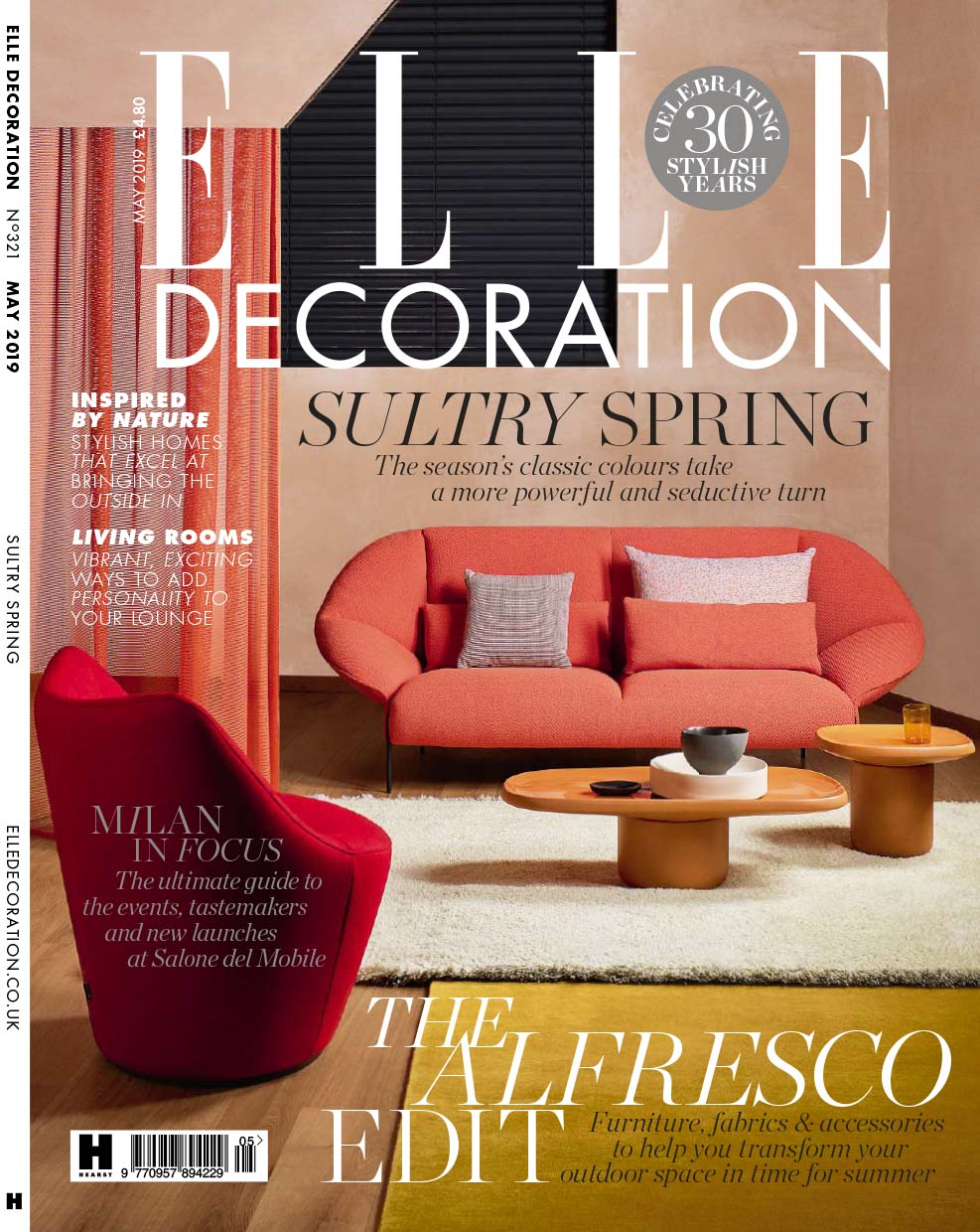 Elle Decoration magazine front cover styled and conceived by Sania Pell, Contributing Interior Stylist. May 2019 issue. Photographer Beth Evans.